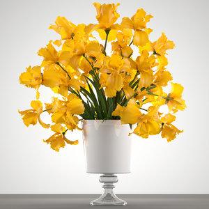 3D bouquet yellow flowers