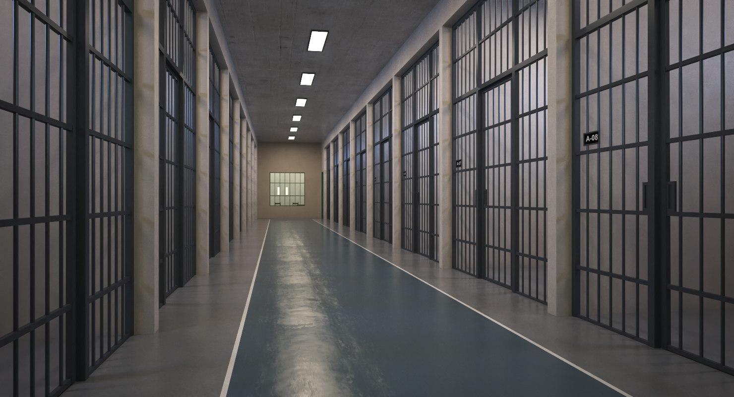 interior scene prison corridor 3D model