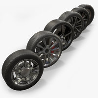 Low Poly Car Wheels Collection