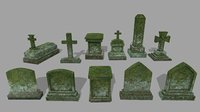 3D model tombstone stone tomb