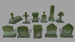 3D model tombstone stone tomb