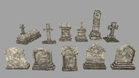tombstone stone tomb 3D model