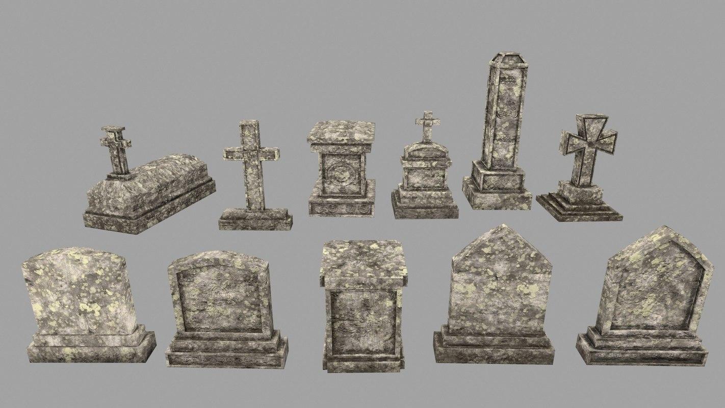tombstone stone tomb 3D model