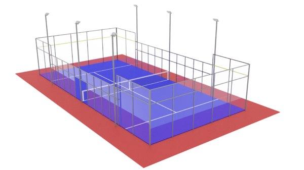 3D model paddle tennis court