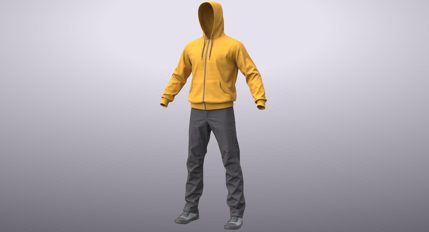 3D realistic men s clothes model