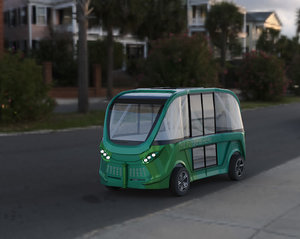 3D driverless shuttle bus navya model