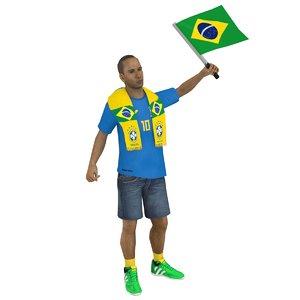 3D model rigged soccer fan 2