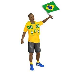 rigged soccer fan model
