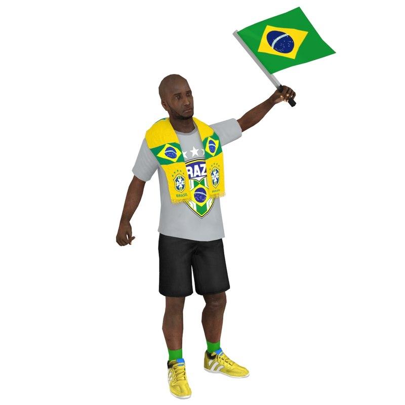 3D rigged soccer fan 3