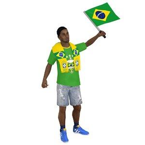 rigged soccer fan man 3D