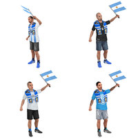 pack rigged soccer fan 3D model