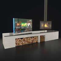 3D tv fireplace set