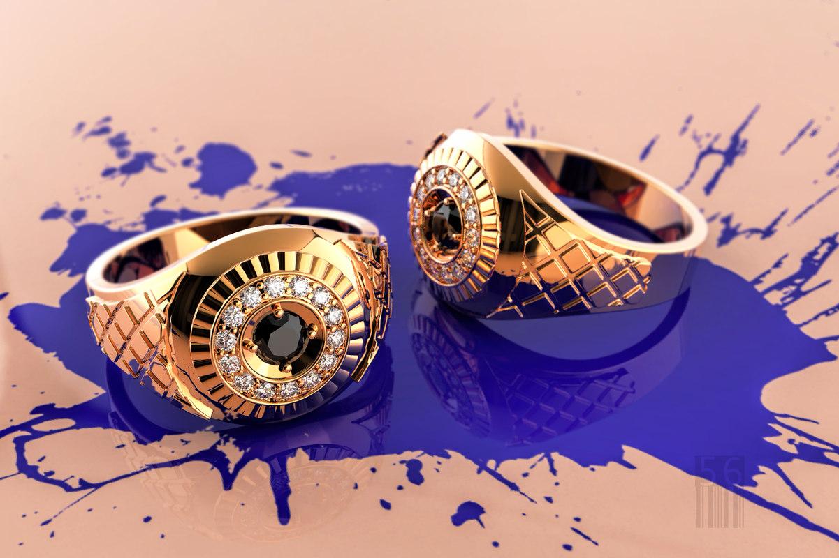 men gold ring stones 3D model