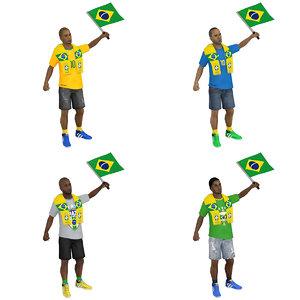 3D pack rigged soccer fan model