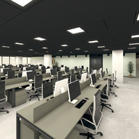 modern office interior space 3D