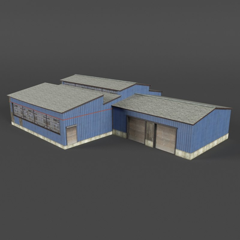 3D model industrial building warehouse factory