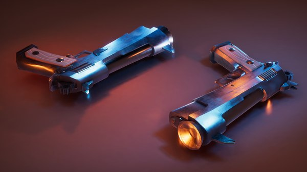 3D stylized pistol model