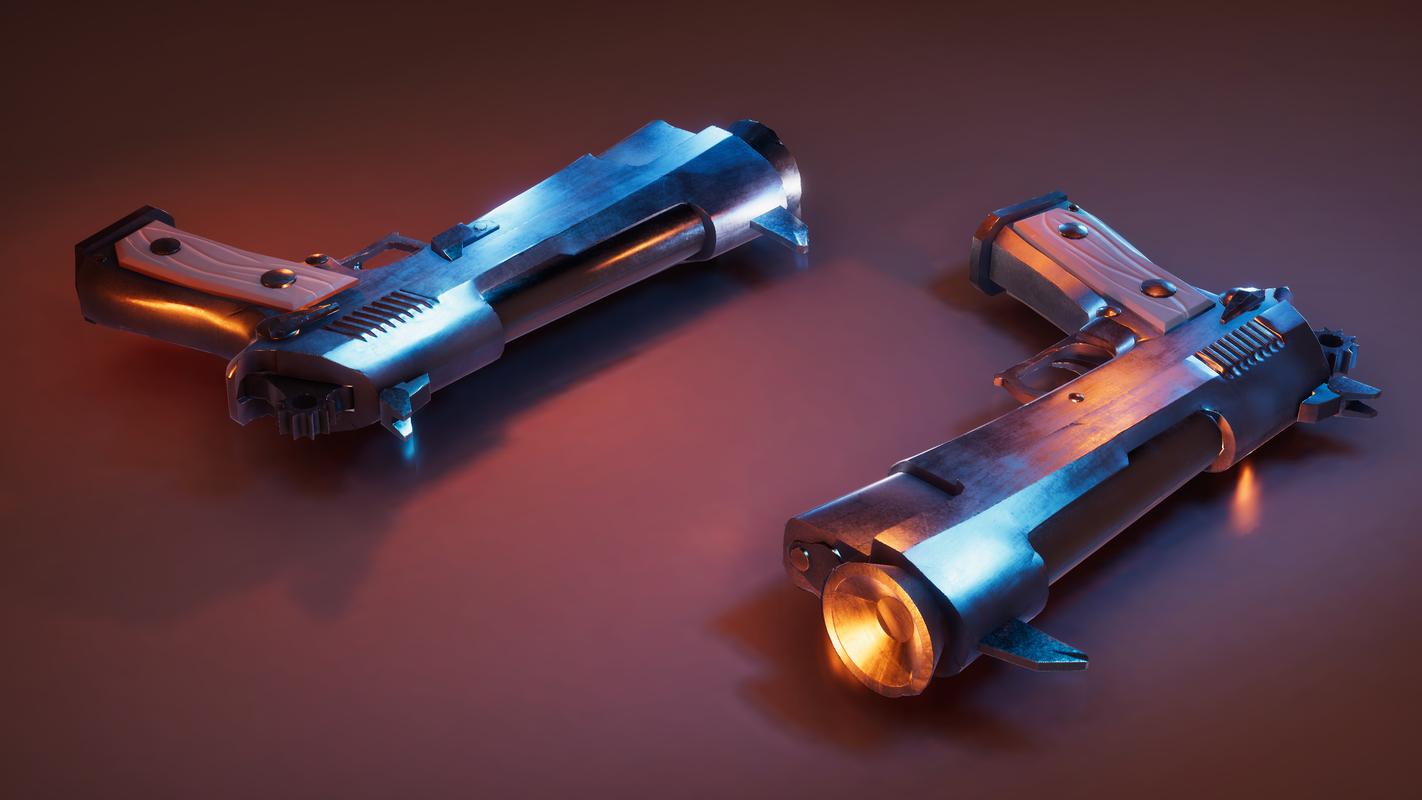3D stylized pistol model