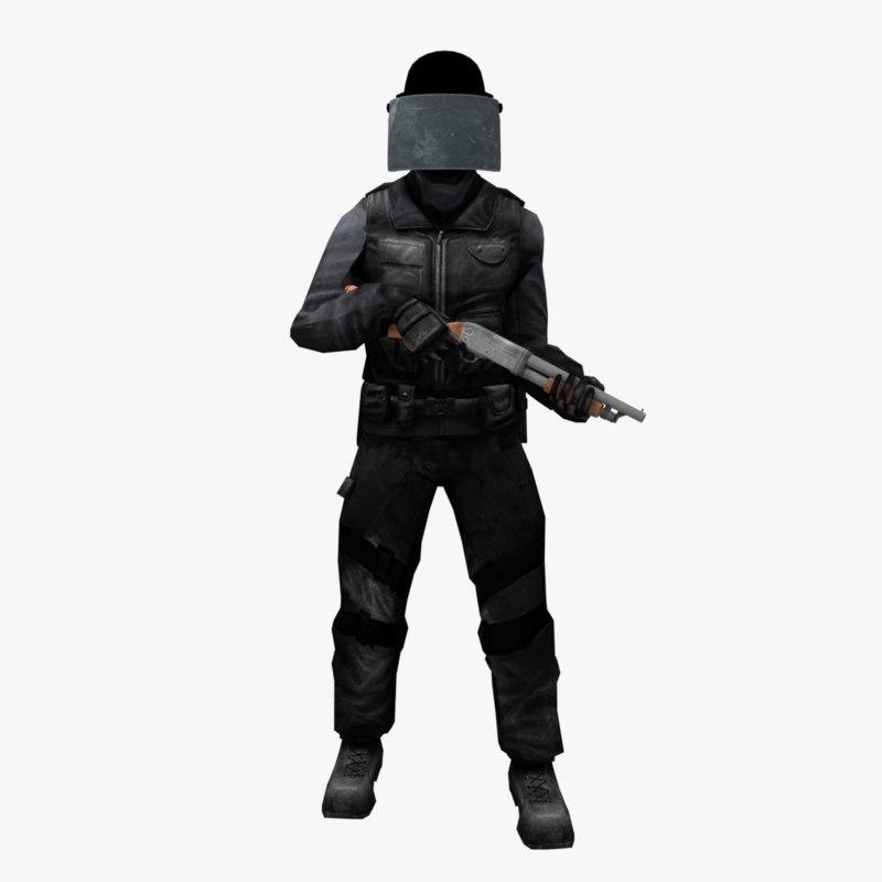 3D model swat gun