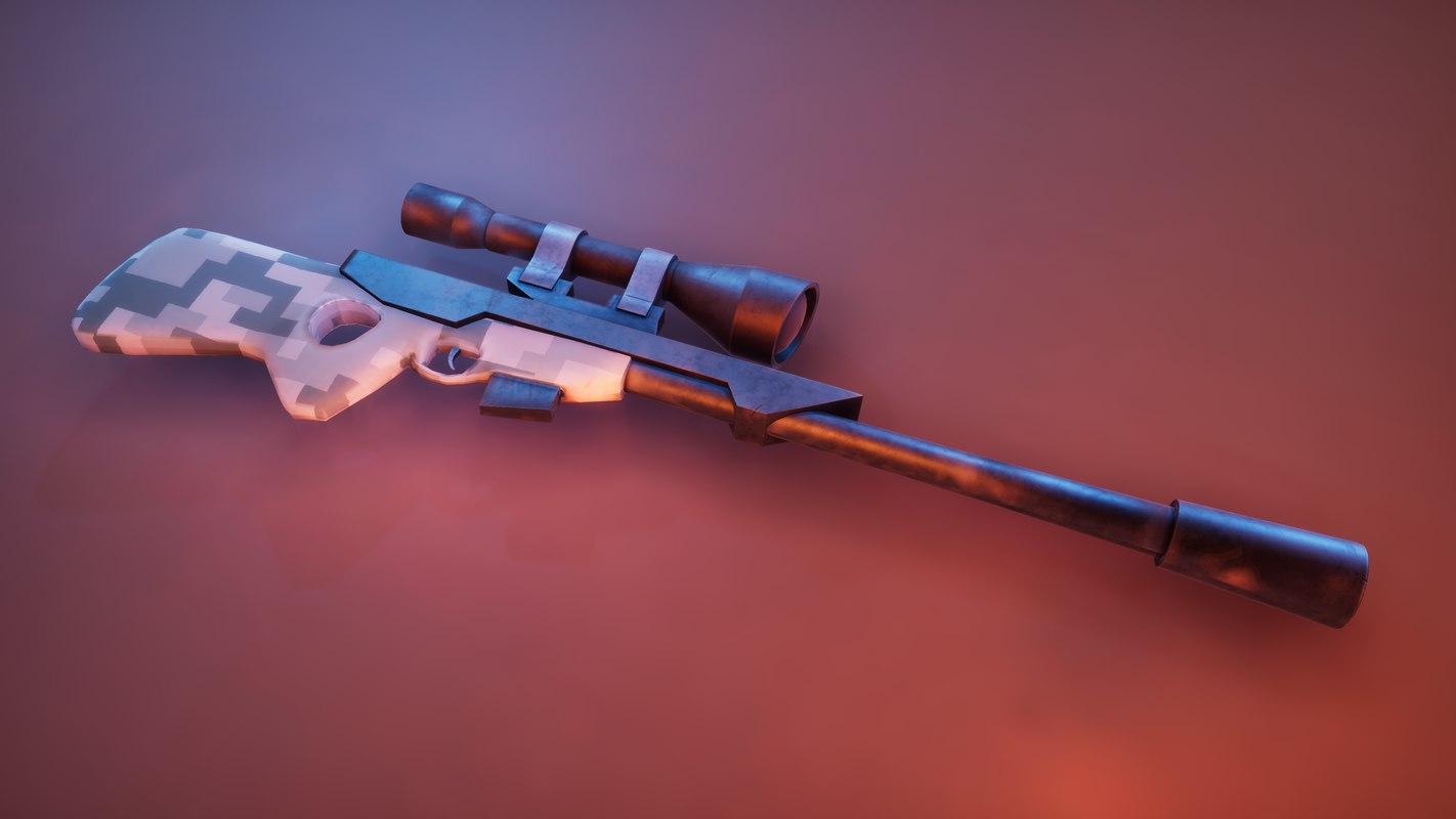 3D stylized sniper rifle model
