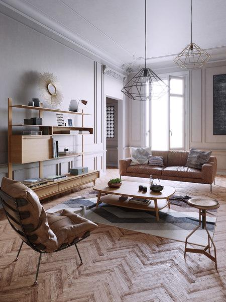 century interior scene 3D