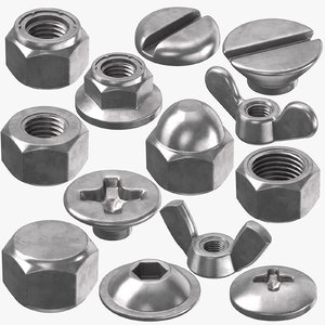 3D bolt nut heads