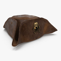 Skull and Crossbones Pirate Hat Leather