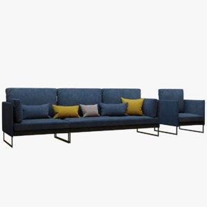 realistic modern sofa pbr 3D model