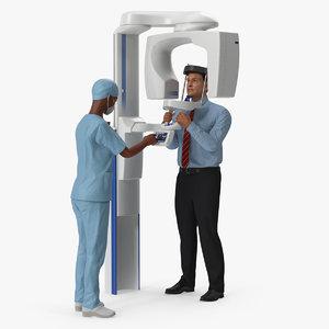 3D dental doctor patient rigged model