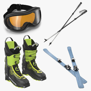 3D equipment skiing 2 modeled