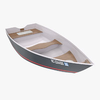 3D small aluminum fishing boat model