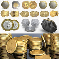 3D model coins 1 dollar