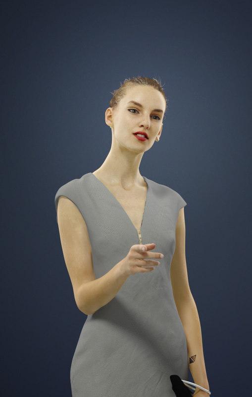 pointing female caucasian 3D model