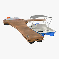 Pontoon Wharf with Pedal Boats 3D Model