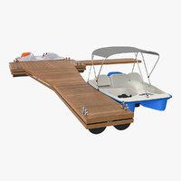 3D pontoon wharf pedal boats