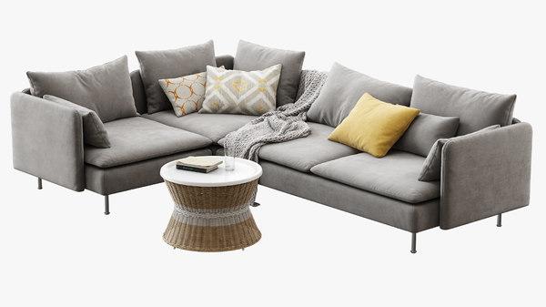 ikea soderhamn 4-seat corner sofa 3D