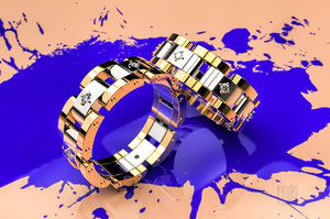 gold ring stones 3D
