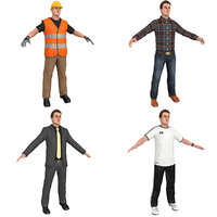 3D worker athlete man suit