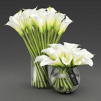 vases calla lilies 3D model