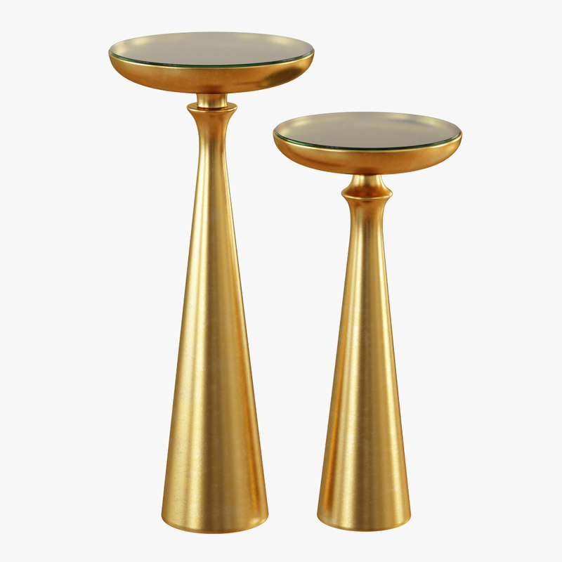 3D model tapered brass table tall
