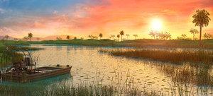 3D wetlands sunset florida s