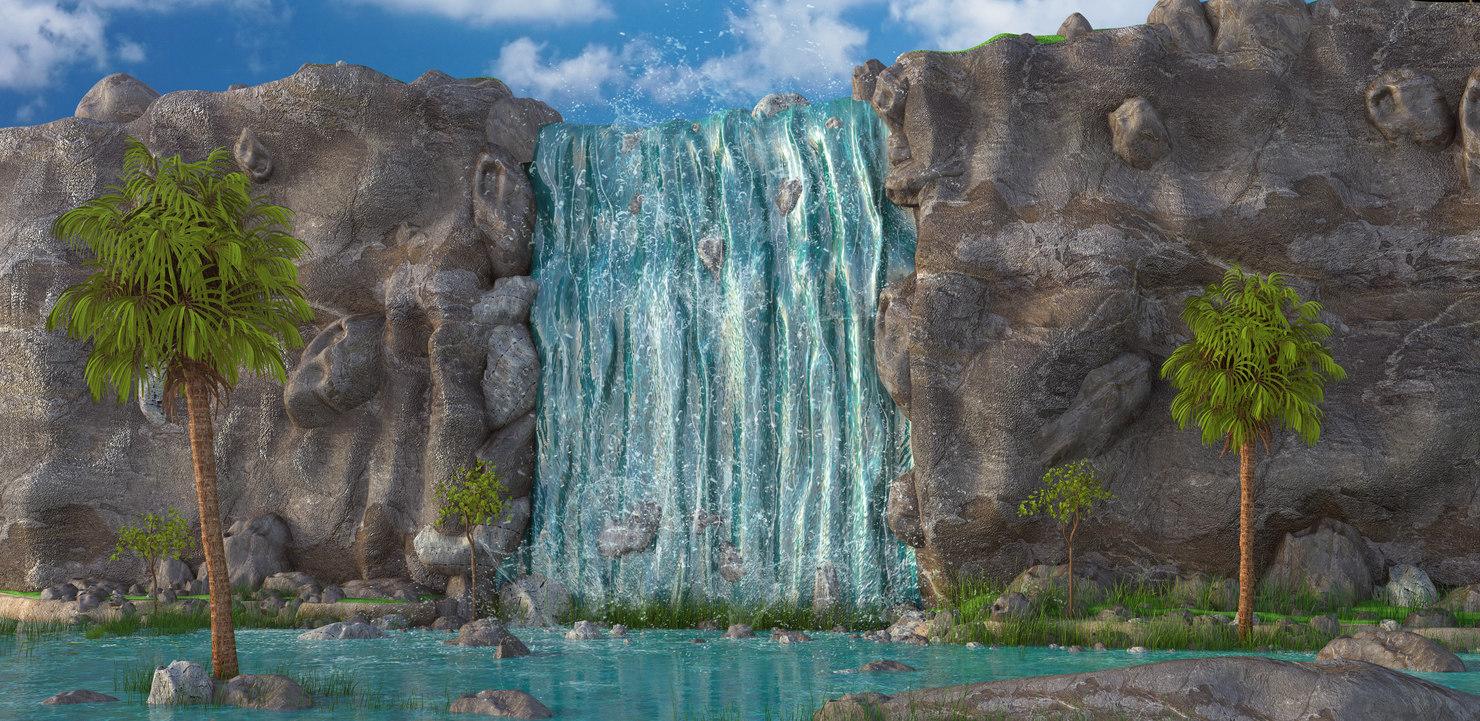 3D waterfall water fall