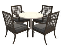 3D dining chairs table