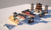 Chinese temple and bridge Set