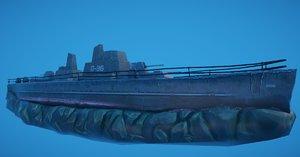 3D hand-painted battleship shipwreck