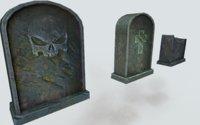 3D model tombstone games asset