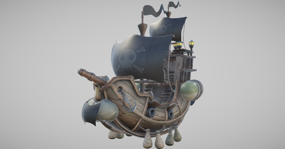 3D flying pirate ship