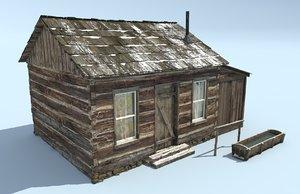 3D frontier log cabin model