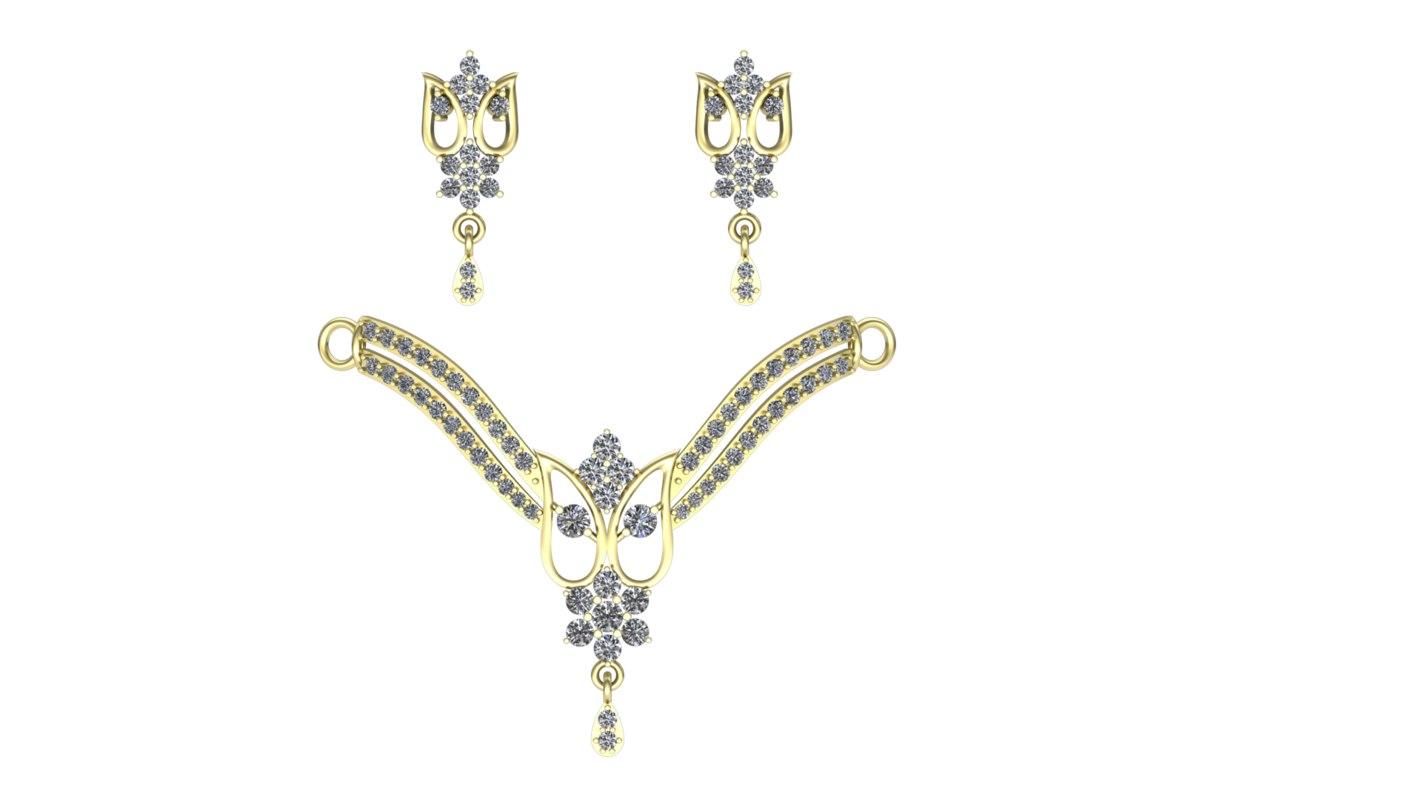 3D model necklace pendant diamonds