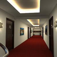 hotel corridor 3D model